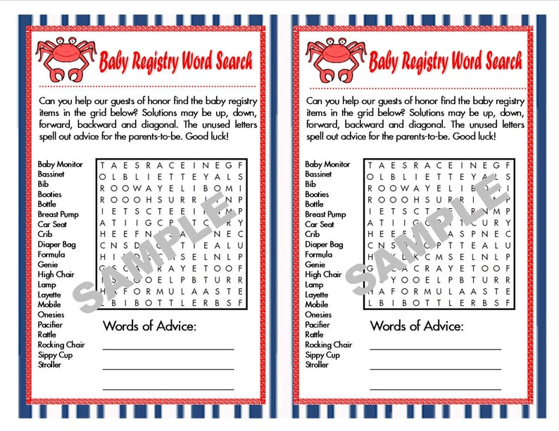 Baby Registry Nautical Printable Word Search with Hidden Message and Answer  Key, Nautical Baby Shower, Printable Nautical Games