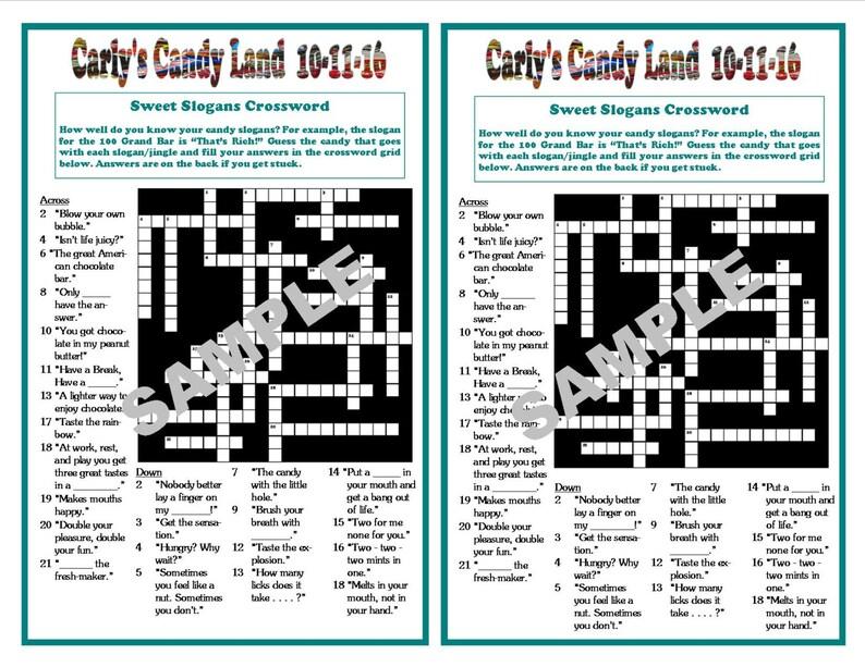 Sweet Slogans Printable Crossword Puzzle, Candy Crossword, Sweet 16s,  Birthdays, Bat Mitzvah, Candy Games, Custom Digital File