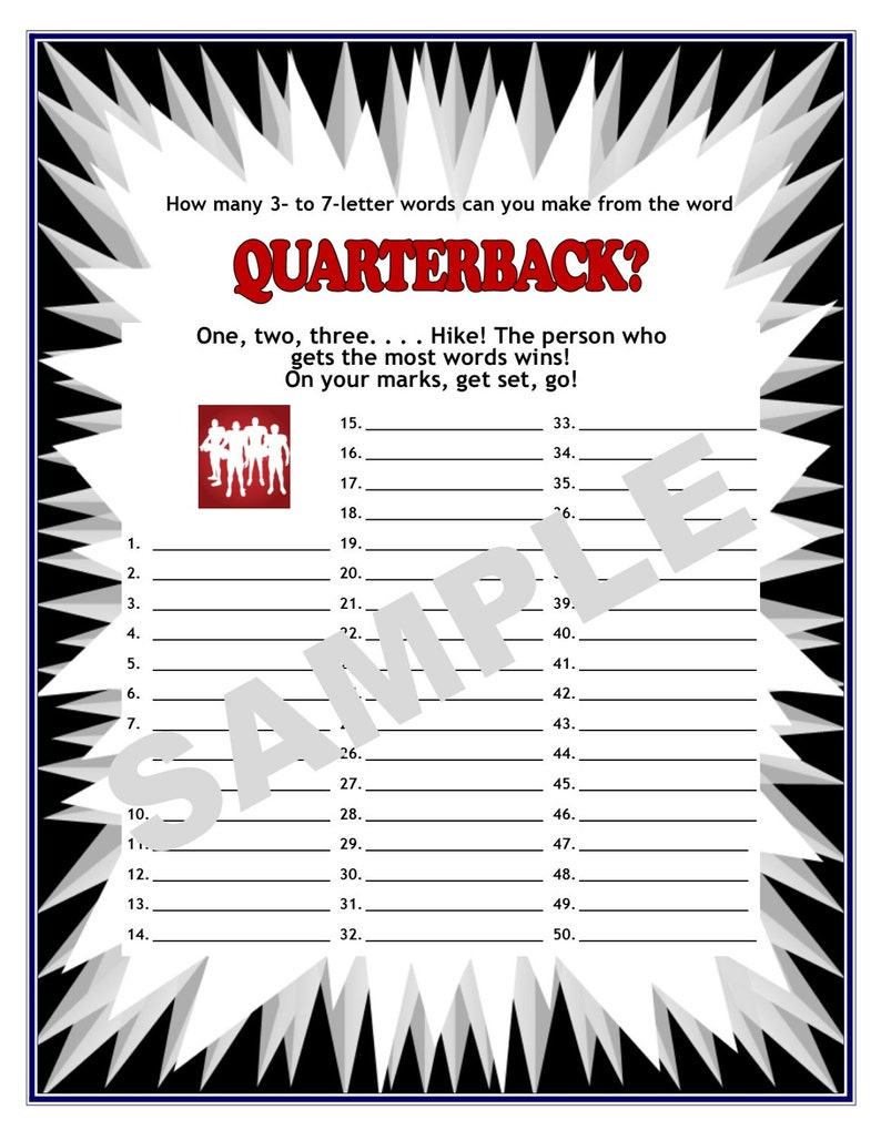 photograph relating to Super Bowl Party Games Printable known as Quarterback How Innumerable Words and phrases Printable Match-- Soccer Social gathering - Tremendous Bowl Occasion - Athletics Celebration - Spelling Video games - Prompt Obtain