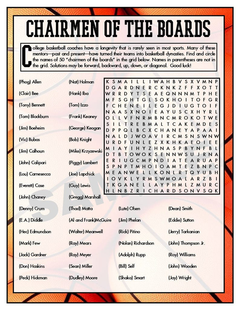 College Coaches Printable Word Search - Basketball Games - College  Basketball - Word Search - Sports Games - Instant Download