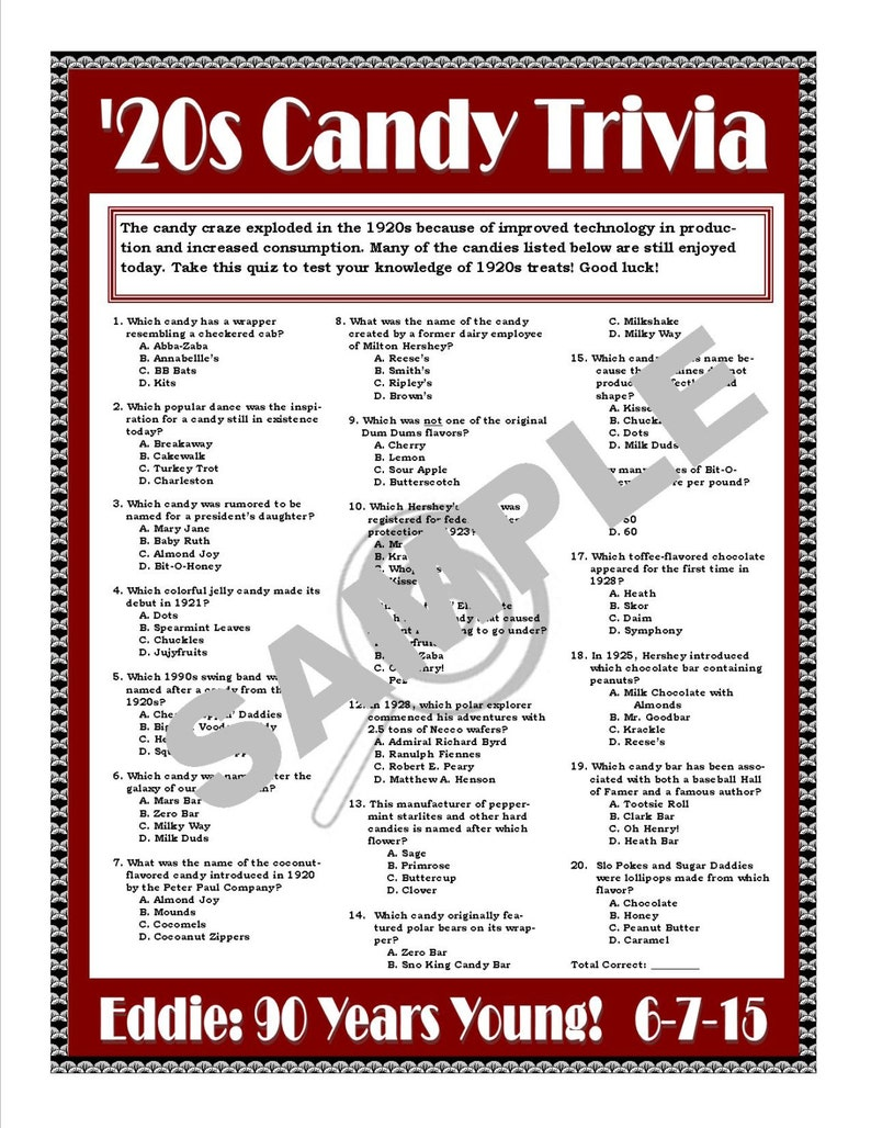 1920s Candy Trivia Printable Game--Personalize for Birthdays,  Anniversaries, Candy-Themed Parties, and More! CUSTOM DIGITAL FILE