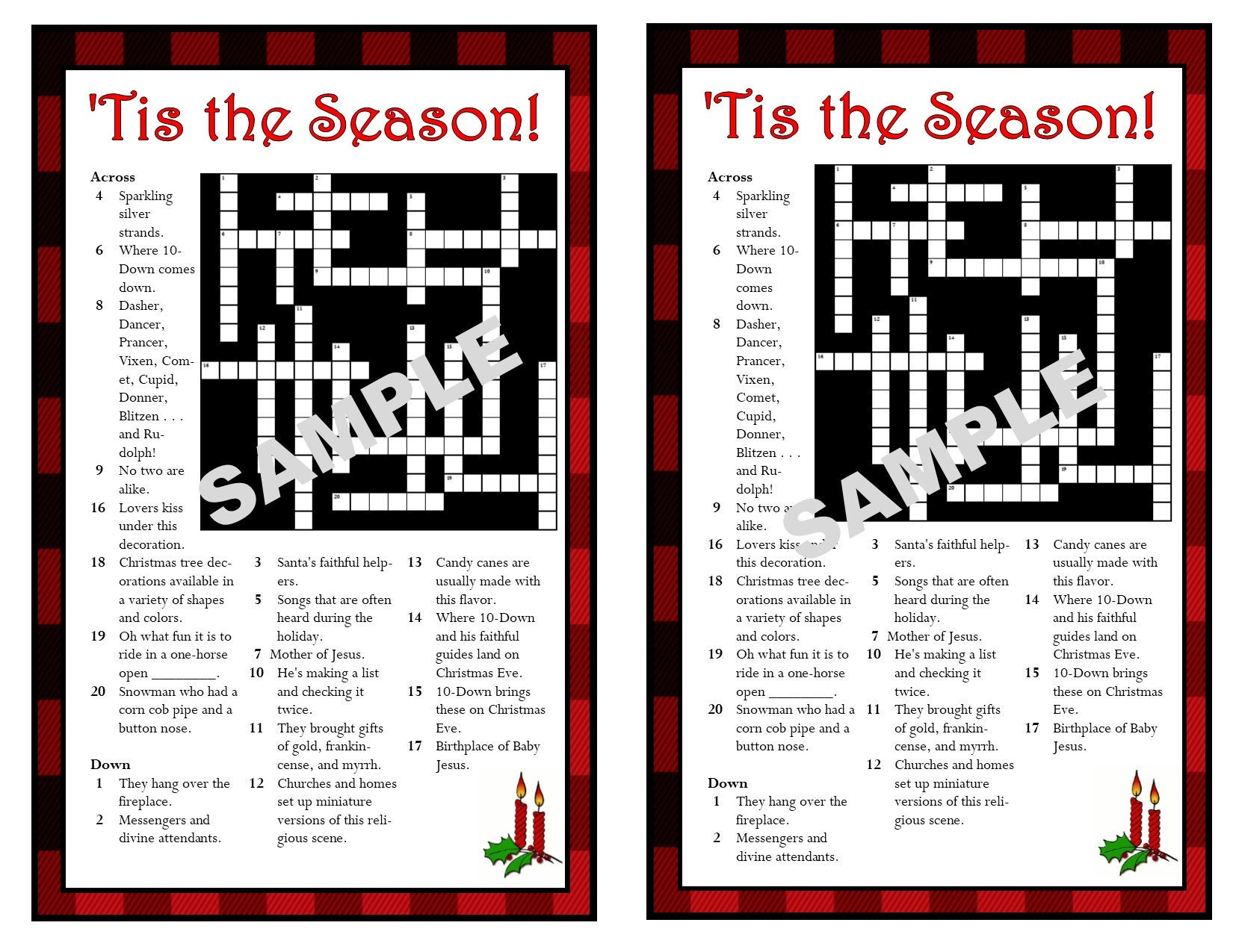 christmas printable crossword puzzle christmas games etsy