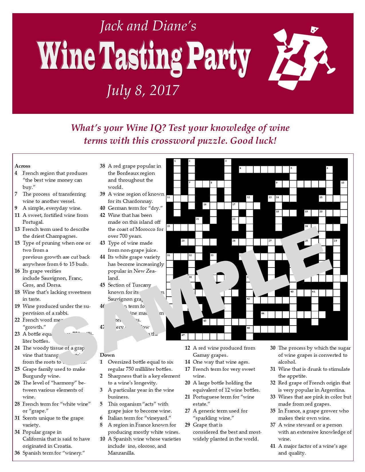Wine Terms Printable Crosswordpersonalize For Wine Tasting Etsy