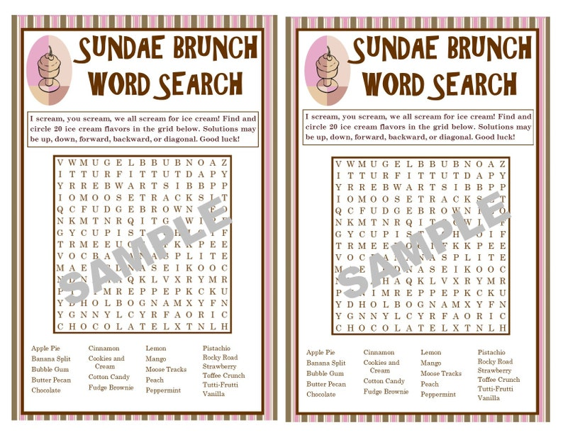 Ice Cream Flavors Printable Word Search Game - Word Search - Games for  Children - Classroom Activity - Instant Download
