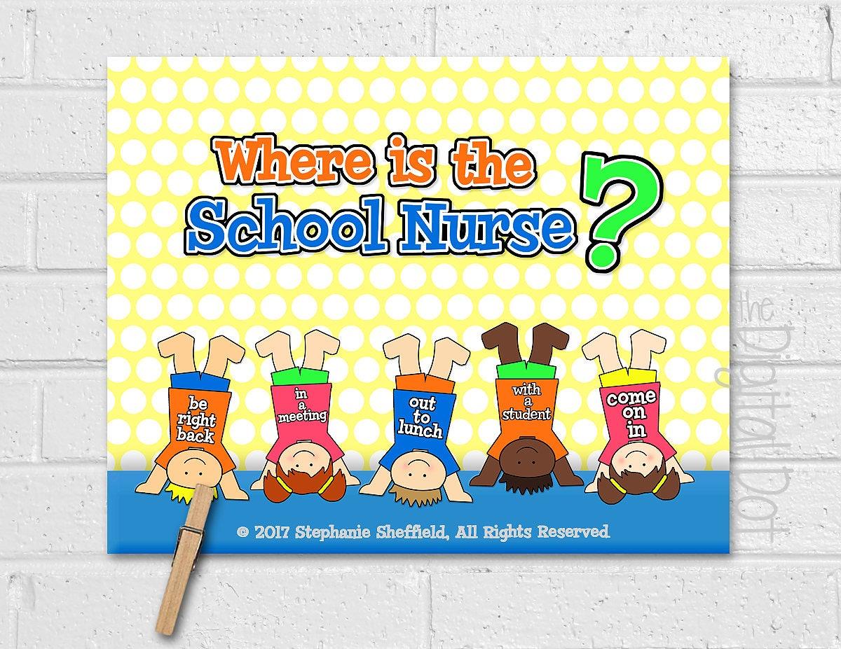 Where is the School Nurse Door Sign Where\'s the Nurse | Etsy