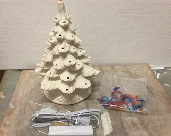 Ceramic Bisque Christmas Tree and Base Complete kit with Lighting Kit Bulbs and Star Ready To Paint