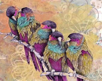 Parrot painting art print, Bird art illustration, Nature inspired home decor, Bird lover gift