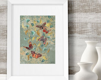 Butterfly wall art, Home decor, anniversary gift idea, framed butterfly print