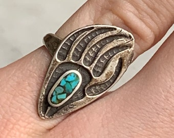 Totem Animals wild grizzly Viking Bear Ring with Black Obsidian Force Bear.Taiga Frey.Freyr talisman amulet indians navajo northern