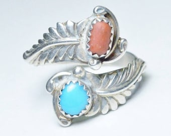 Vintage Sterling Silver Navajo Southwestern Turquoise Coral Adjustable Band Signed