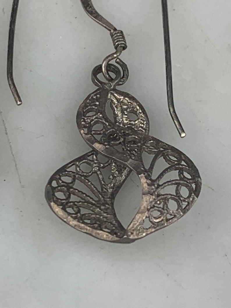 Vintage Sterling Silver Helix Swirl Scroll Infinity  Filigree Pierced Dangle Earrings