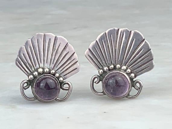 Vintage Amethyst Sunburst Cluster Ring Flower Sterling Silver Tiny Ring Size 9