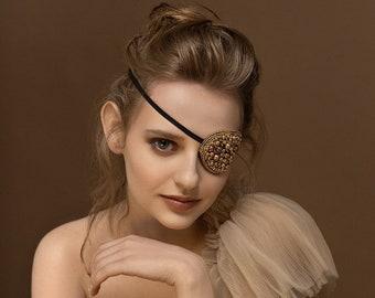 Pirate eye patch, pirate jewelry, eye jewelry, crystal jewelry, one of a kind jewelry, pirate eye band, kinky jewelry