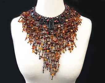 Amber necklace - fall necklace - couture necklace- statement necklace - clothing gift - beaded necklace - gift for her , amber jewelry