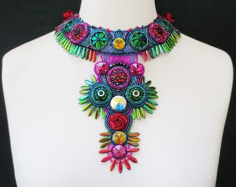 statement necklace - big necklace - colorful necklace - beaded necklace - gift for her clothing gift , party jewelry, festival jewelry