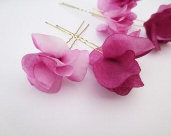 silk hair pind, silk flower pin, fuchsia hair pin, fuchsia hair jewelry, hair jewelry, flower hair pin