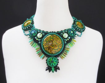 statement necklace, khokhloma jewelry, greenery necklace, emerald necklace  - gift for her, beetle wings, crystal necklace, colorful collar