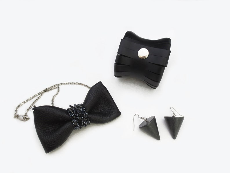 cone earrings statement jewelry set leather bracelet extravagant jewelry, leather bow tie necklace minimal jewelry