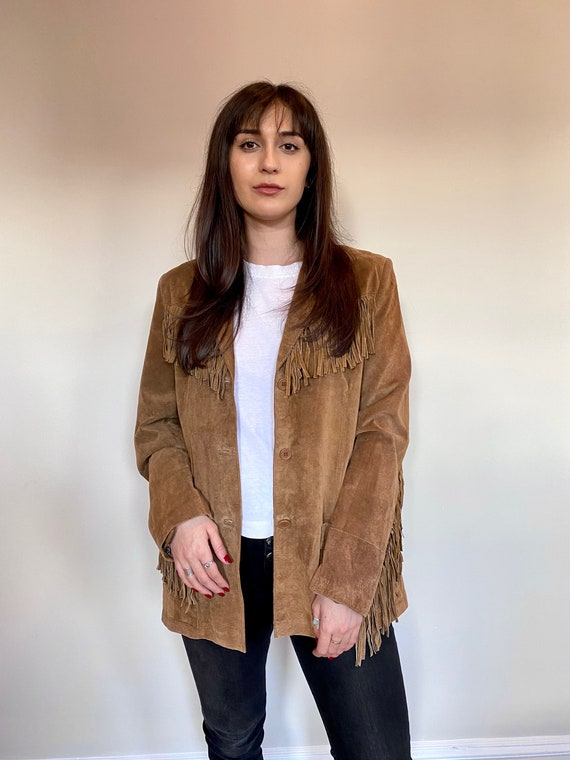 Vintage 80s Brown Suede Fringe Jacket