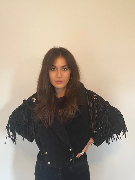 Vintage 70s Black Western Suede Leather Fringe Con