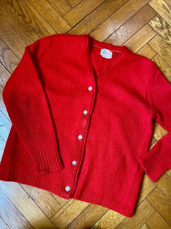 Cherry Red Pure Wool Cardigan Retro 1940s Style