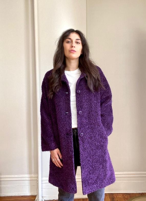 Vintage 80s Bill Blass Purple Coat - image 2