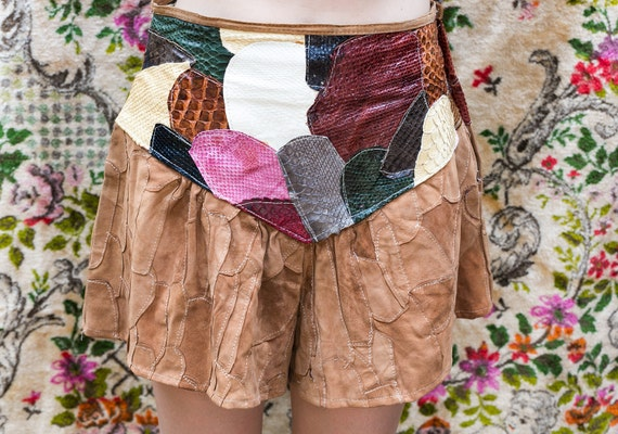 1970-1980's Italian Leather Shorts Suede Patchwork