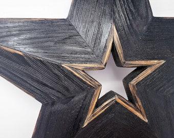 Rustic Wood Star, Black Wood Star, Large Wood Star, Beveled 25 Inch Star, Wood Wall Art, Barn Star