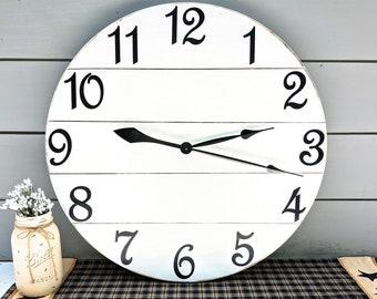 Large Wood Farmhouse Clock, 24 Inch Rustic Wall Clock, Shiplap Style Clock, Personalized, Distressed  White Wood Clock, Wood Clock