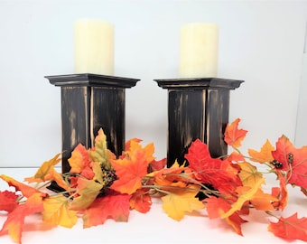 Rustic Wood Candle Holders, Farmhouse Style, Rustic Table Décor, Candle Pillars, Distressed Paint Set of 2