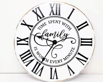 Modern Farmhouse Wood Clock, Rustic Wall Clock, Time Spent With Family is Time Well Spent, Distressed, White Wood Clock,