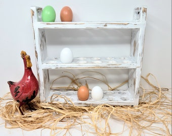 Farmhouse Egg Rack, Egg Storage, Fresh Egg Display, Rustic Wood Egg Holder