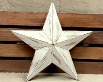 Christmas Tree Topper, Farmhouse Tree Topper, Rustic Wood Star, 12 inch White Star, Christmas Decoration