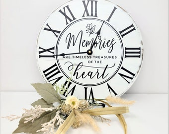 Modern Farmhouse Wood Clock, Rustic Wall Clock, Memories Timeless Treasures of the Heart, Distressed, White Wood Clock,