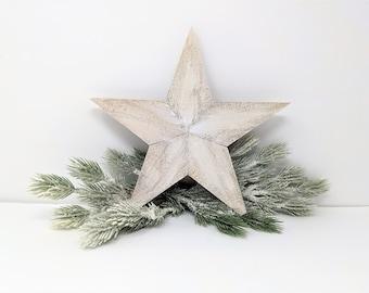 Rustic Christmas Tree Topper, Farmhouse Tree Topper, Rustic Cedar Wood Star, Christmas Decoration, White 11 Inch Star