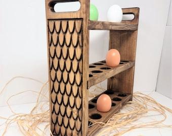 Farmhouse Egg Rack, Egg Storage, Kitchen Countertop, Fresh Egg Display, Rustic Wood Egg Holder, Feathered Sides