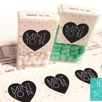 SALE! Mint to be labels for tic tac favors! Gold Glitter Polka Dot. Wedding favors. Semi-gloss paper labels with 2 perforated lines.