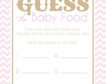 Baby Shower Game Cards for Guess the Baby Food Game Instant