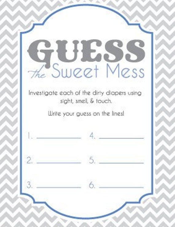 picture about Baby Shower Candy Bar Game Printable called Boy or girl Shower Activity Playing cards for Wager the Adorable Mess Sweet Bar Activity! Soiled Diaper Recreation! Printable! Blue and Grey! Organized towards Print!