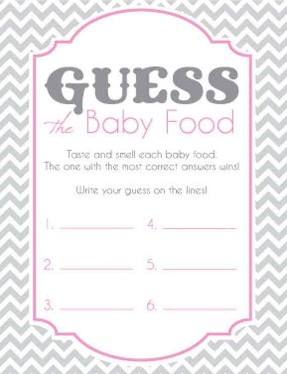 Baby Shower Game Cards For Guess The Baby Food Game Instant Etsy