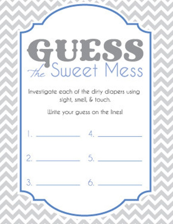 Baby Shower Game Cards For Guess The Sweet Mess Candy Bar Etsy