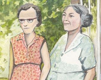 "Two women in 1950s spring dresses Original gouache 5x7"""