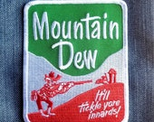 Vintage Mountain Dew Hillbilly quot It 39 ll Tickle Yore Innards Embroidered Patch 4 quot x3 quot