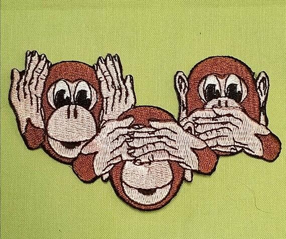 "Speak See /& Hear No Evil Monkeys Patch 3/"""