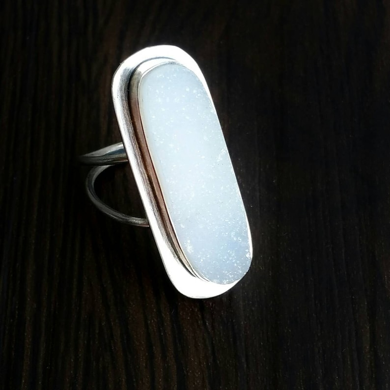 Statement Ring White Gemstone Ring Bezel Druzy Ring Sterling Silver Double Band White Rectangle Druzy Ring