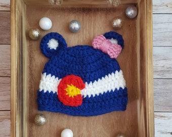 dd78ec12f38 Colorado Flag Hat   Bear Beanie   Crochet Colorado Beanie   Baby Bear Beanie    Winter Hat   Knit Bear Beanie   Easton Beanie