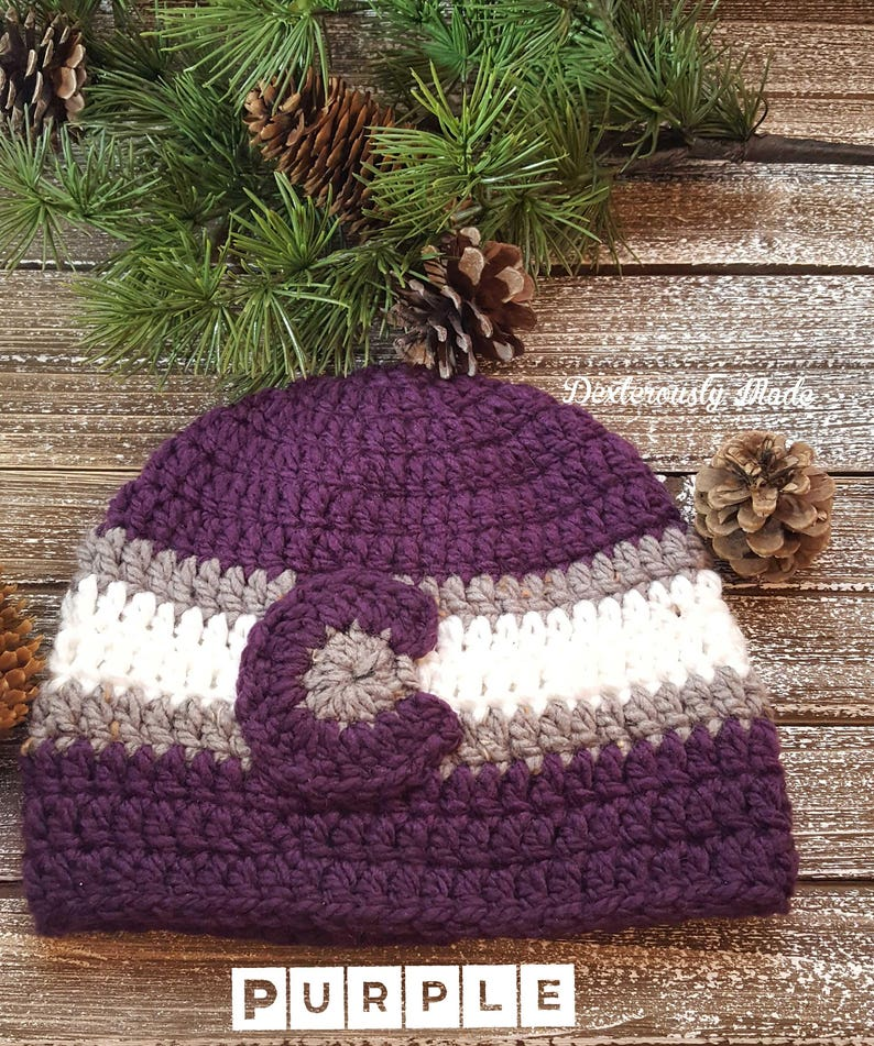 Colorado Flag Hat ADULT  Crochet  Colorado Beanie  Colorado Hat  Thick Beanie  Fleece Lined Band  Winter Hat Solid Collection