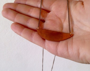 Minimal copper crescent necklace, gift for you