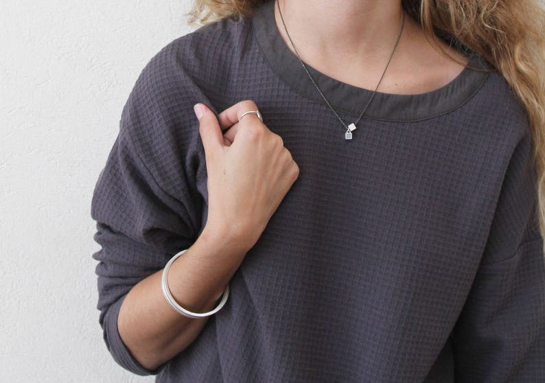 concrete jewelry geometric jewelry Silver and concrete bangle bracelet concrete bangle Minimalist silver bracelet Contemporary bracelet
