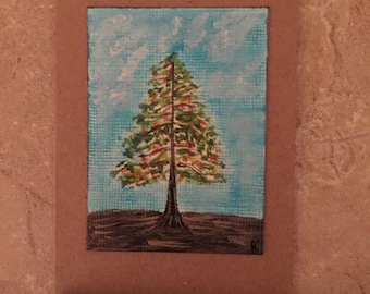 Hand painted card with colorful tree